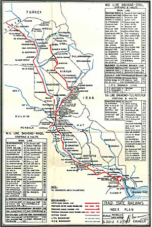 detailed map of the rail network in iraq up to 1961