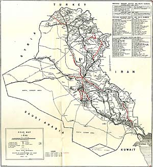 detailed map of the road network in iraq up to 1961